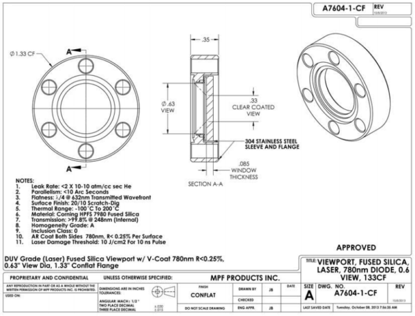 Laser Optics Excimer Viewport
