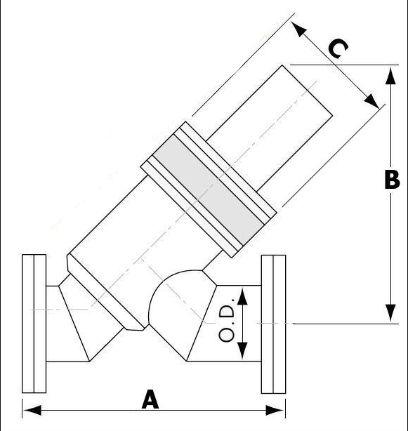 Pneumatic Angle In-Line Valve Conflat Flange