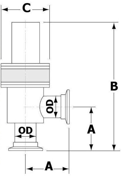 Pneumatically Actuated NW Right Angle Valve