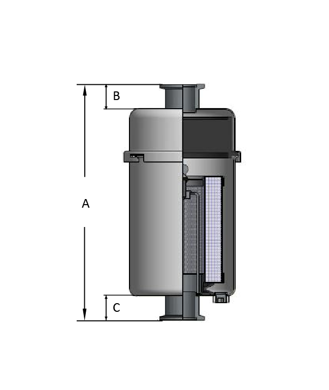 oil mist filter with odor removal drawing